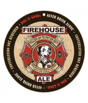 Firehouse Ale Dalmatian round sign 10""