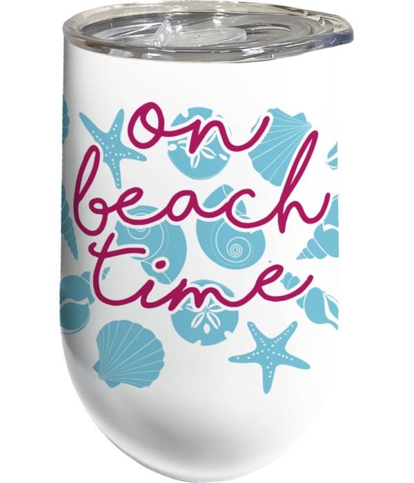 BEACH TIME STNLS WINE TUMBLER