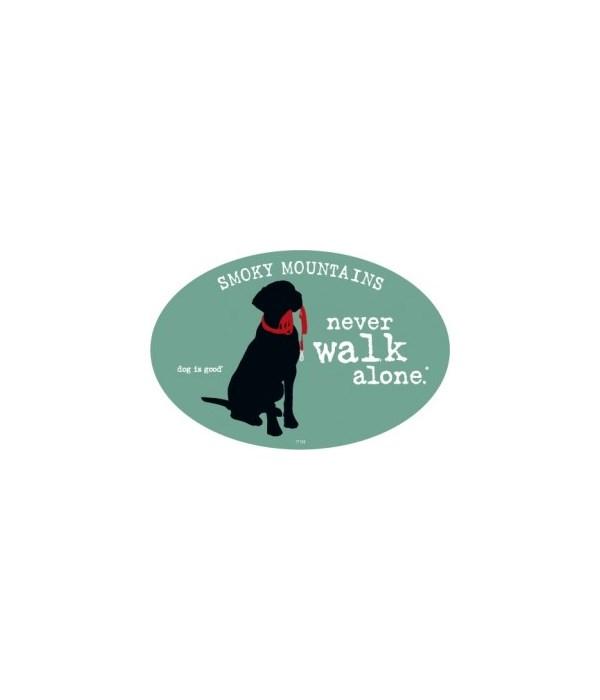 never walk alone. (dog with leash hangin