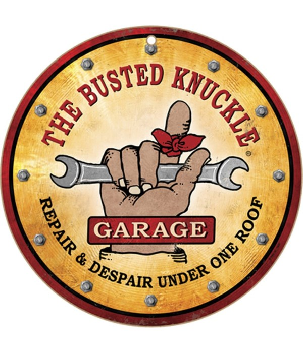 """Busted Knuckle Repair10"""" sign"""