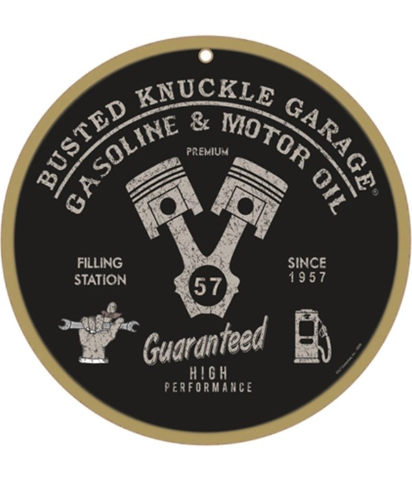 """Busted Knuckle Gas & Oil10"""" sign"""