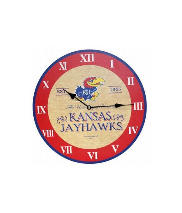 "U-KS Jayhawks Clock 13.5"""