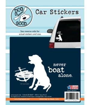 Never Boat Alone Car Sticker