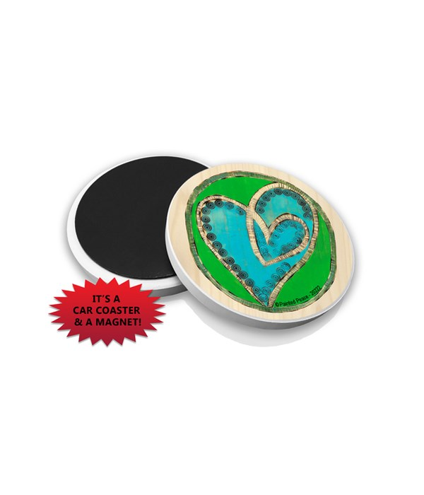 Hearts - Double heart design (blue and g