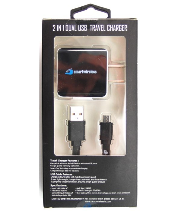 Micro home charger w/USB 2.1A