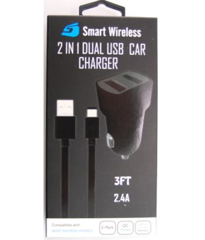 Micro 2 in 1 USB & Car Charger 2.1A