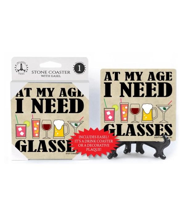 At my age I need glasses   coaster 1-pac