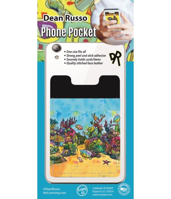 Coral Scene Phone Pocket
