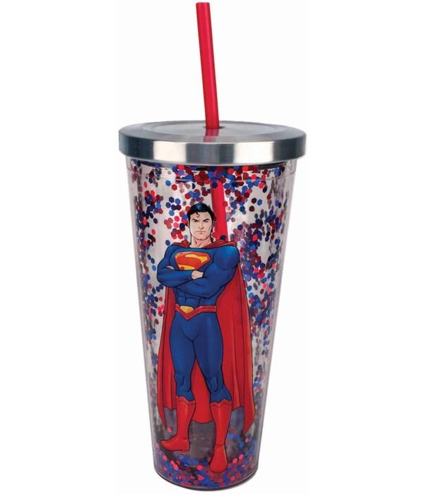 SUPERMAN GLITTER CUP W/STRAW