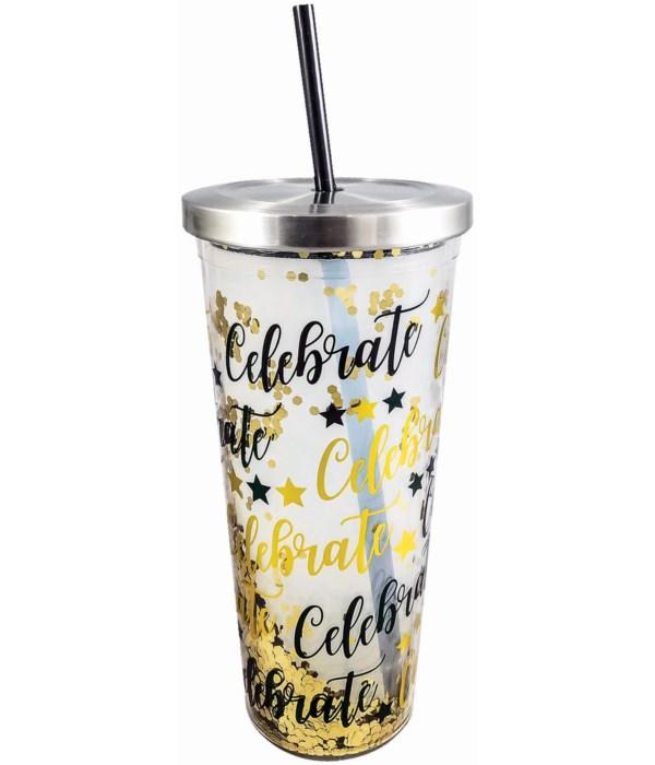 CELEBRATE GLITTER CUP W/STRAW