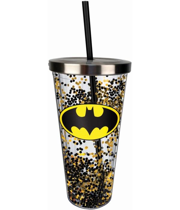 BATMAN GLITTER CUP W/STRAW