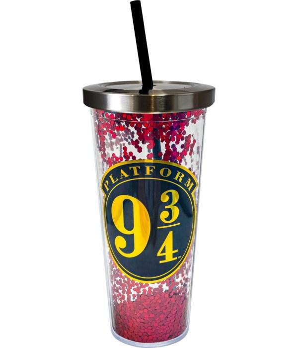 PLATFORM 9-3/4 GLITTER CUP W/STRAW
