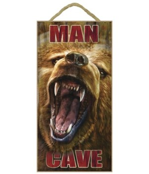 Man Cave (grizzly bear's mouth open) 5x1