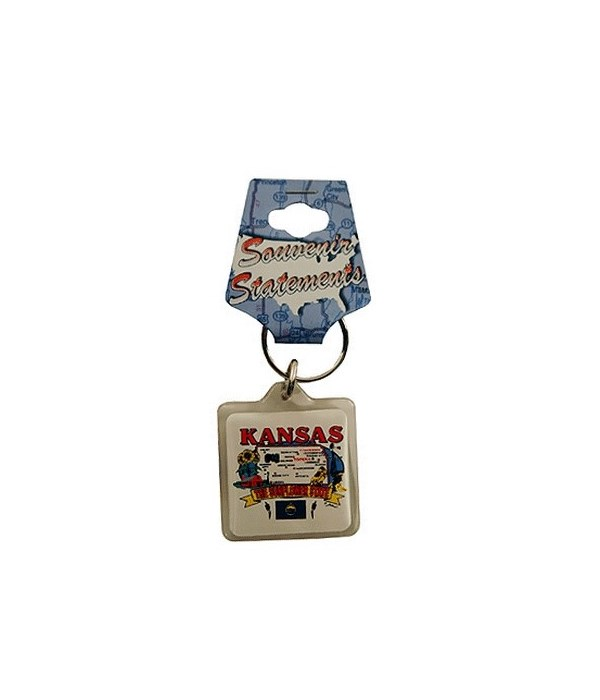 KS Keychain Lucite State Map