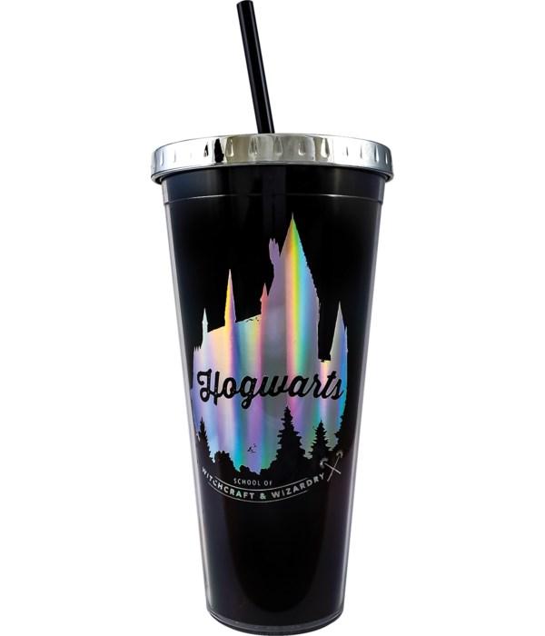 HOGWARTS FOIL CUP W/STRAW