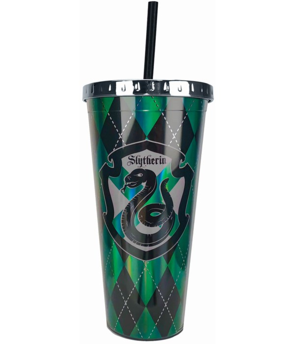 SLYTHERIN FOIL CUP W/STRAW