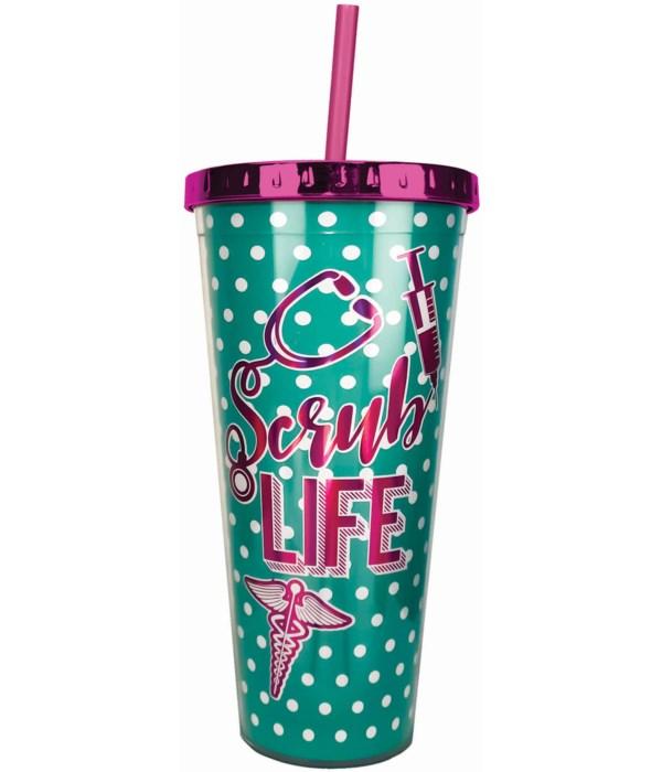 SCRUB LIFE FOIL CUP W/STRAW