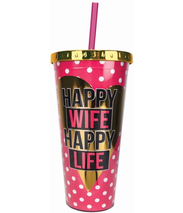 HAPPY WIFE FOIL CUP W/STRAW