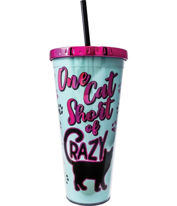 CAT FOIL CUP W/STRAW