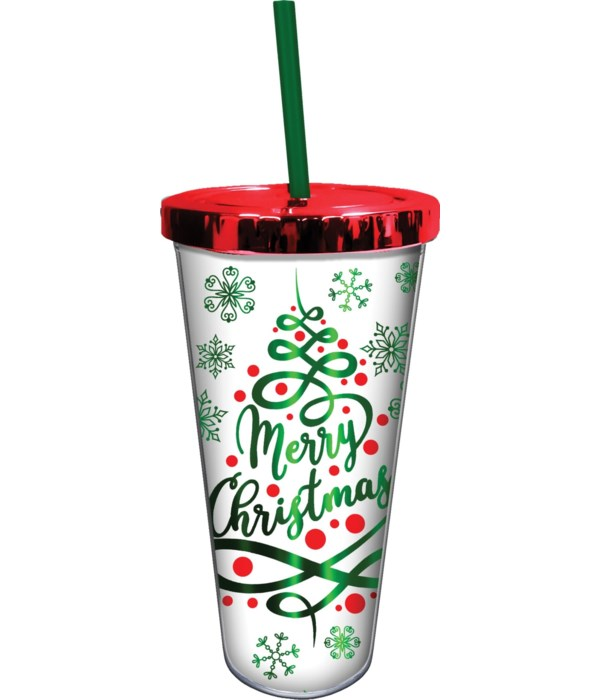 MERRY CHRISTMAS FOIL CUP W/STRAW