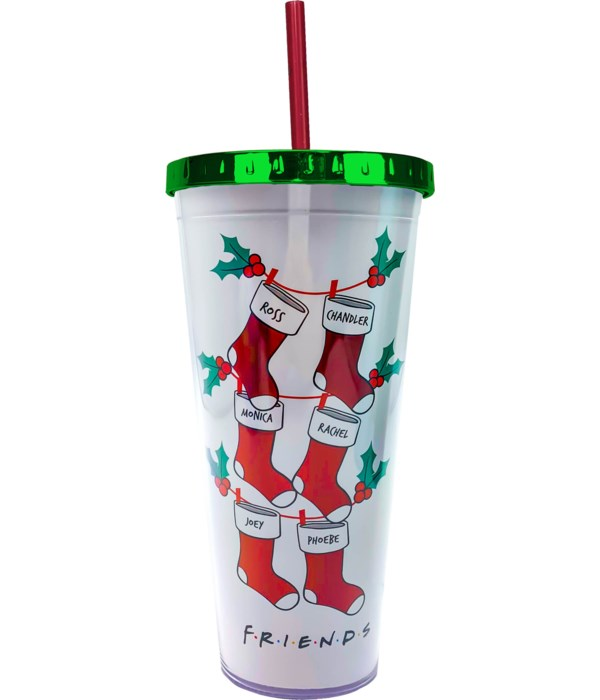 Friends Christmas FOIL CUP W/STRAW