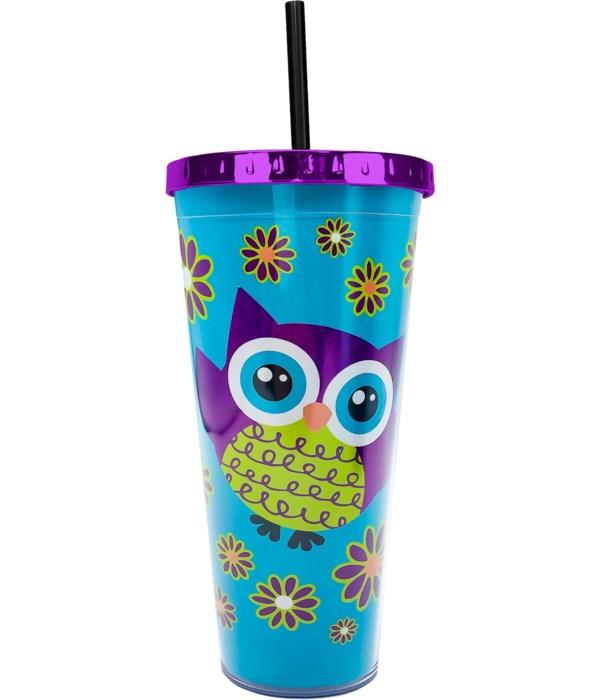 OWL FOIL CUP W/STRAW