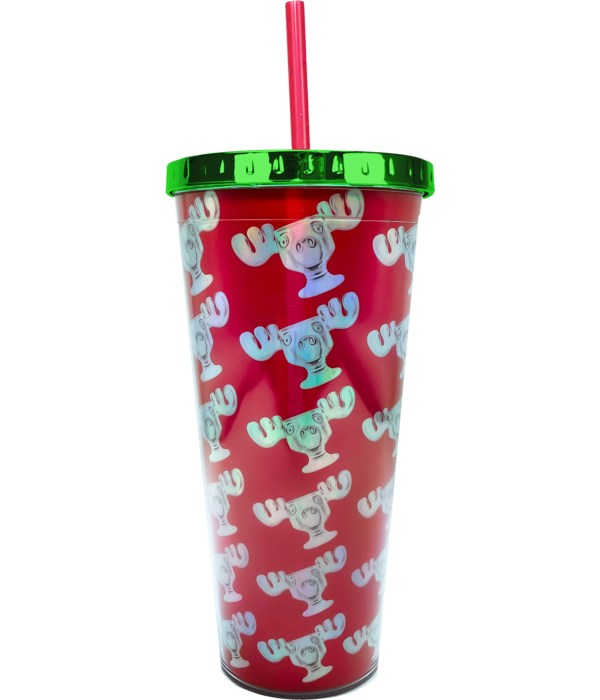 CHRISTMAS MOOSE FOIL CUP W/STRAW