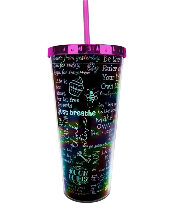 POSITIVE AFFIRMATIONS FOIL CUP W/STRAW