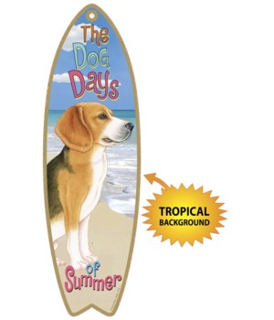 Surfboard with Tropical bkgd -  Beagle 7