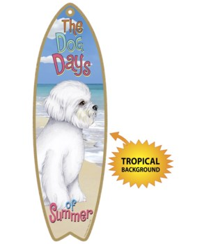 Surfboard with Tropical bkgd -  Bichon