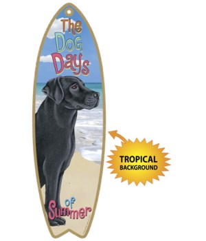 Surfboard with Tropical bkgd -  Black La