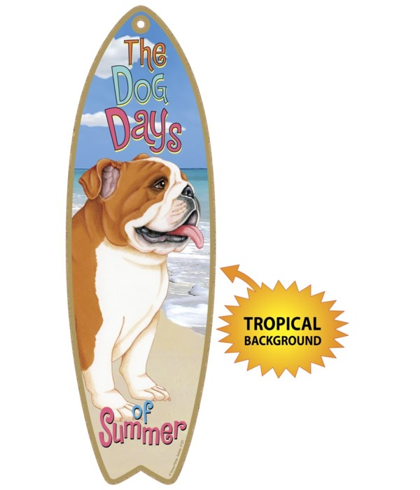 Surfboard with Tropical bkgd -  Bulldog