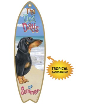 Surfboard with Tropical bkgd -  Dachshun