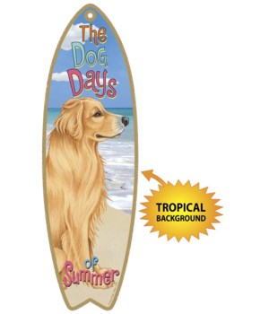 Surfboard with Tropical bkgd -  Golden R