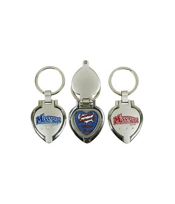 MO Keychain Metal Heart Locket