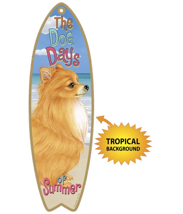 Surfboard with Tropical bkgd -  Pomerani