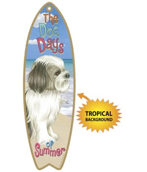 Surfboard with Tropical bkgd -  Shih Tzu