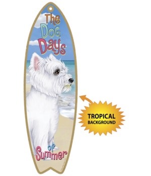 Surfboard with Tropical bkgd -  Westie