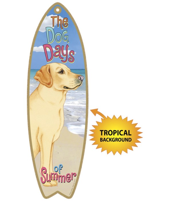 Surfboard with Tropical bkgd -  Yellow L