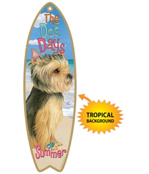 Surfboard with Tropical bkgd -  Yorkie