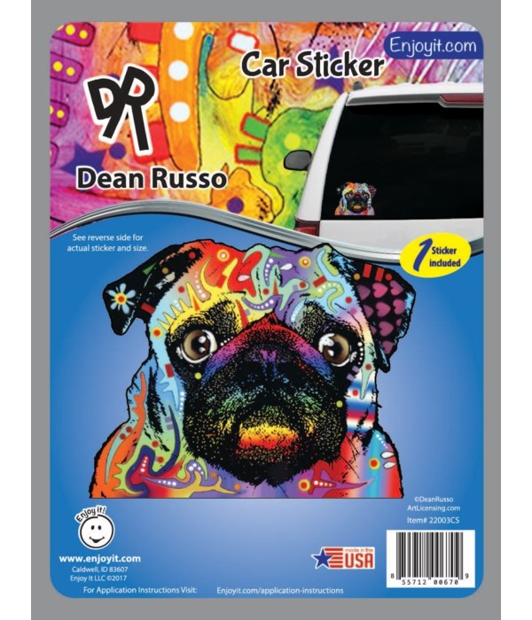 Pug Car Sticker