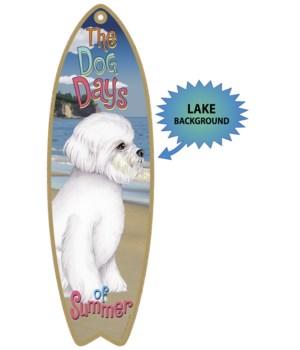 Surfboard with Lake bkgd -  Bichon