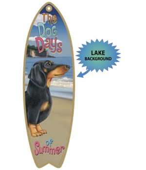 Surfboard with Lake bkgd -  Dachshund (B