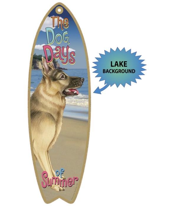 Surfboard with Lake bkgd -  German Sheph