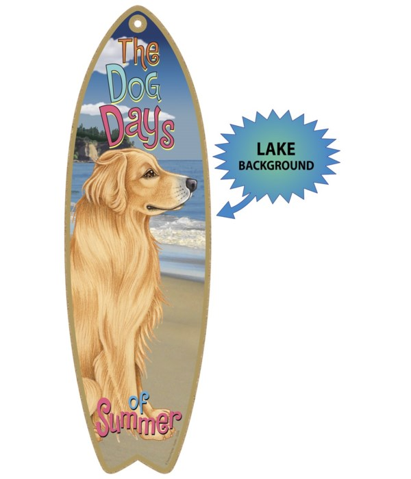 Surfboard with Lake bkgd -  Golden Retri