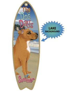 Surfboard with Lake bkgd -  Pitbull (Tan