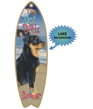 Surfboard with Lake bkgd -  Rottweiler