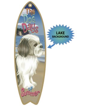 Surfboard with Lake bkgd -  Shih Tzu