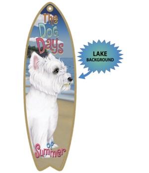 Surfboard with Lake bkgd -  Westie