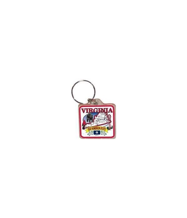 Virginia Keychain Lucite State Map